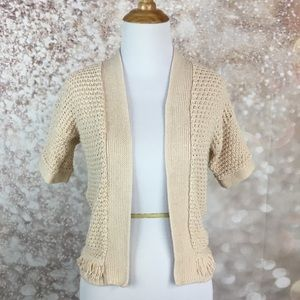 Gap Kids Girls Cream Short Sleeve Cardigan Sweater